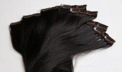 8 Parça Siyah Çıt Çıt Saç Seti Gerçek Saç