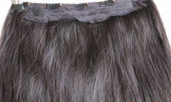 Siyah Yarım Ay Çıt Çıt Saç %100 Gerçek Saç